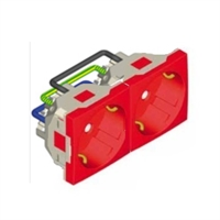 Doble Base Schucko amb protexxió 4 Mòduls. Vermell