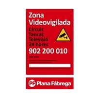 Placa zona videovigilada pequeña catalán