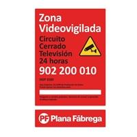 Placa zona videovigilada grande castellano