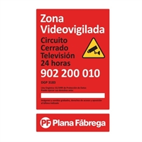 Placa zona videovigilada petita castellà