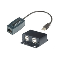 Prolongador USB 1.1 por UTP max 50m con hub 4xUSB