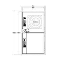 BIE-25 + Armario extintor doble INOX. 1300x680x195 Vertical. Puerta con visor