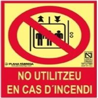 Placa fotoluminescente No utilizar en caso de incendio CLASE A 15x21cm.