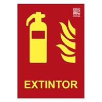 Placa fotoluminescente Extintor clase A 29,7x21cm