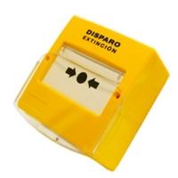 Pulsador de disparo extinción rearmable. Color amarillo