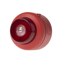 Sirena interior roja flash blanco. Techo. 32 tonos. (Cert. EN54-3 y EN54-23)