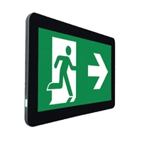 Kit I-Sign señalización y emergencia LED. Visib 24m . Autonomia 1h. Marco negro.