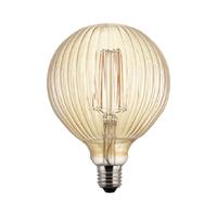 Globo LED estriado dorado Ø125X175mm 6W E27 220V 360º 2700K 500lm