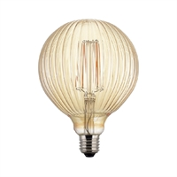 Globus LED estriat daurat Ø125X175mm 6W E27 220V 360º 2700K 500lm