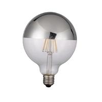 Globo LED espejo plata Ø125X170mm 6W E27 220V 360º 2700K 650lm