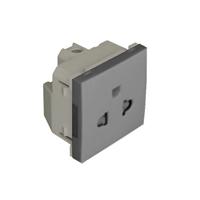 Base euro-americana con protección - 2 módulos. Aluminio Q45