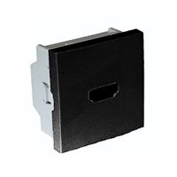 Toma HDMI con conexión tornillos. 2 módulos. Negra mate.