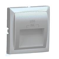 Tapa para doble cargador USB Tipo A 20º. Gris.
