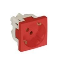 Base enchufe 2P+T (Schuko) + Protección. Rojo