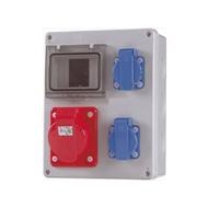 Caixa estanca per 2-4 PIAs amb 2 preses 2P+T i 1 presa 3P+T. 180x230x80mm IP65