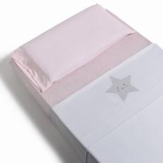 Juego de sábanas de minicuna 50x80 3piezas. Estrella Rosa