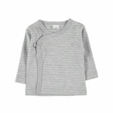 Camiseta cruzada gris rayas