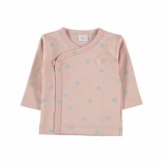 Camiseta cruzada rose con topos aqua