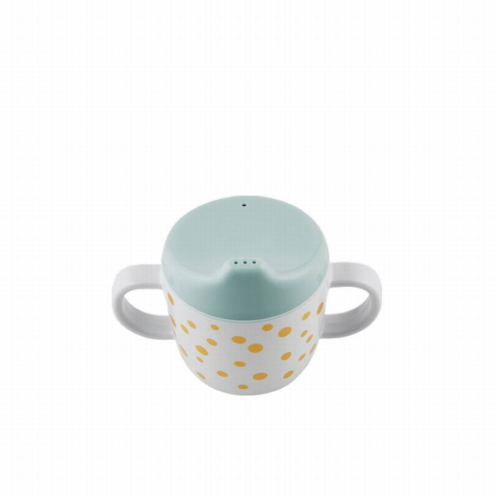 Spout cup, Happy dots, gold/blue