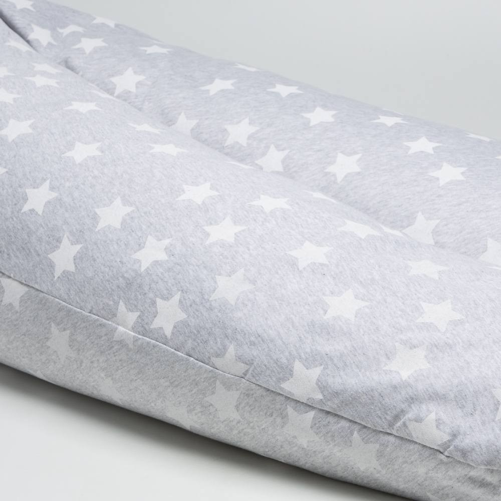 Cojín de lactancia de 190cm. Gris Estrellas Blancas Big Star - Ítem1