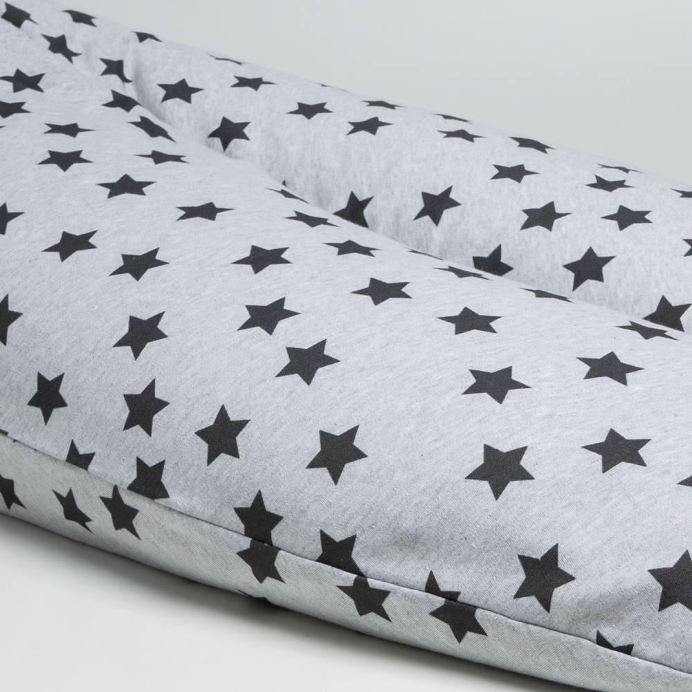 Cojín de lactancia de 190cm.Gris Estrellas Negras Little Star - Ítem1