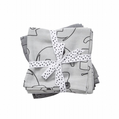 Burp cloth, 2-pack, Contour, grey