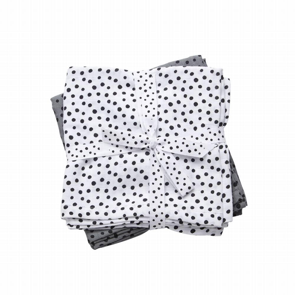 Burp cloth, 2-pack, Happy dots, grey