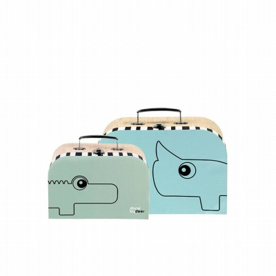 Suitcase set, 2 pcs., blue/green