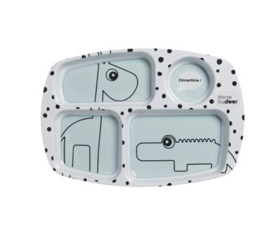 Plato con compartimentos blue happy dots
