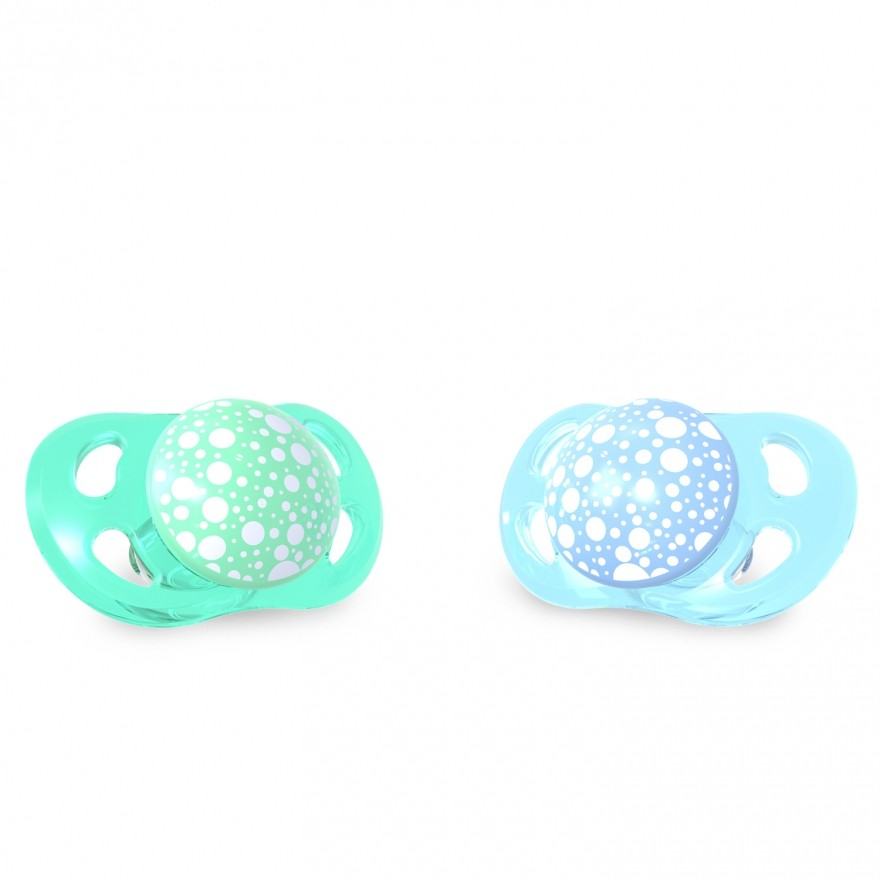 Pack chupetes azul/verde +6m