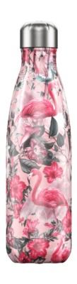 Botella termo líquidos tropical rosa 500ml