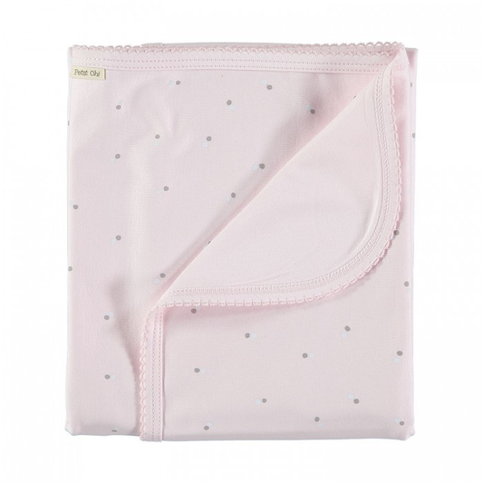Manta algodón pima+pima rosa con topitos gris y blanco