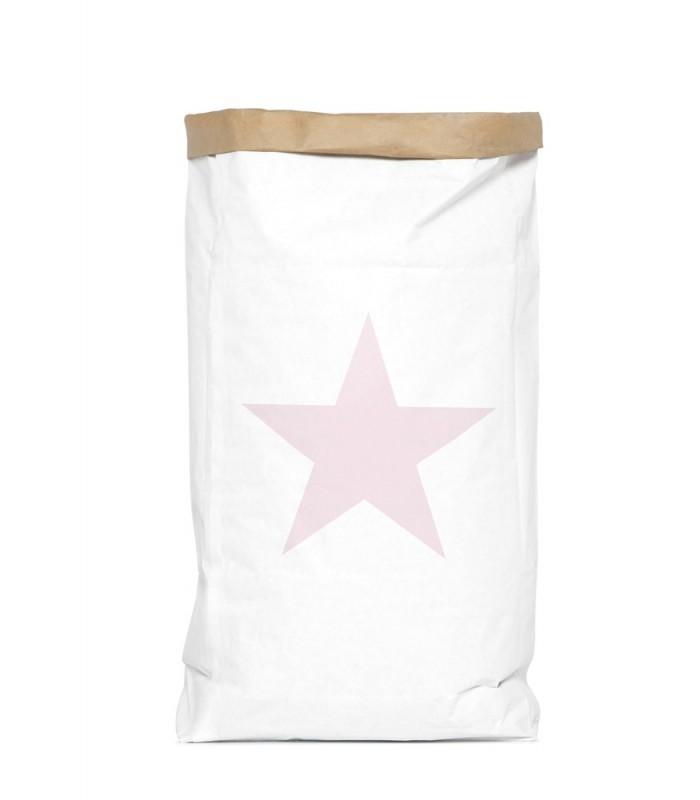 Saco organizador de papel grande estrella rosa original