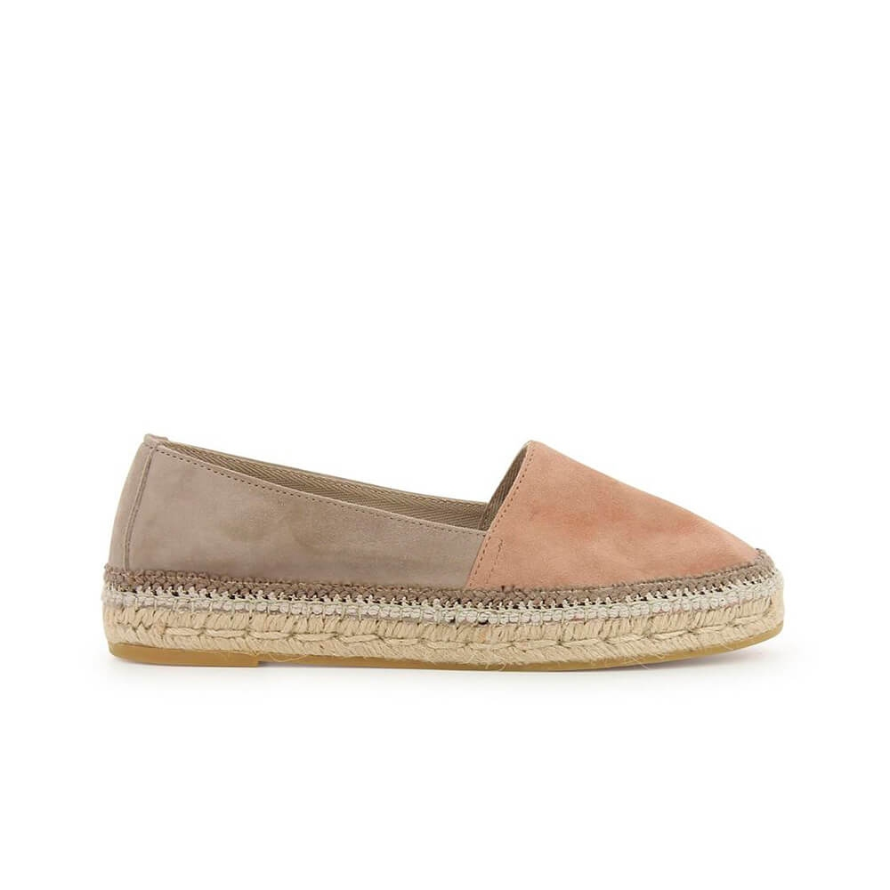 Two-coloured Pink Suede Leather Jute Espadrille