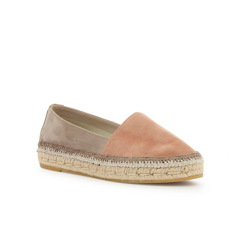 Two-coloured Pink Suede Leather Jute Espadrille - Item1