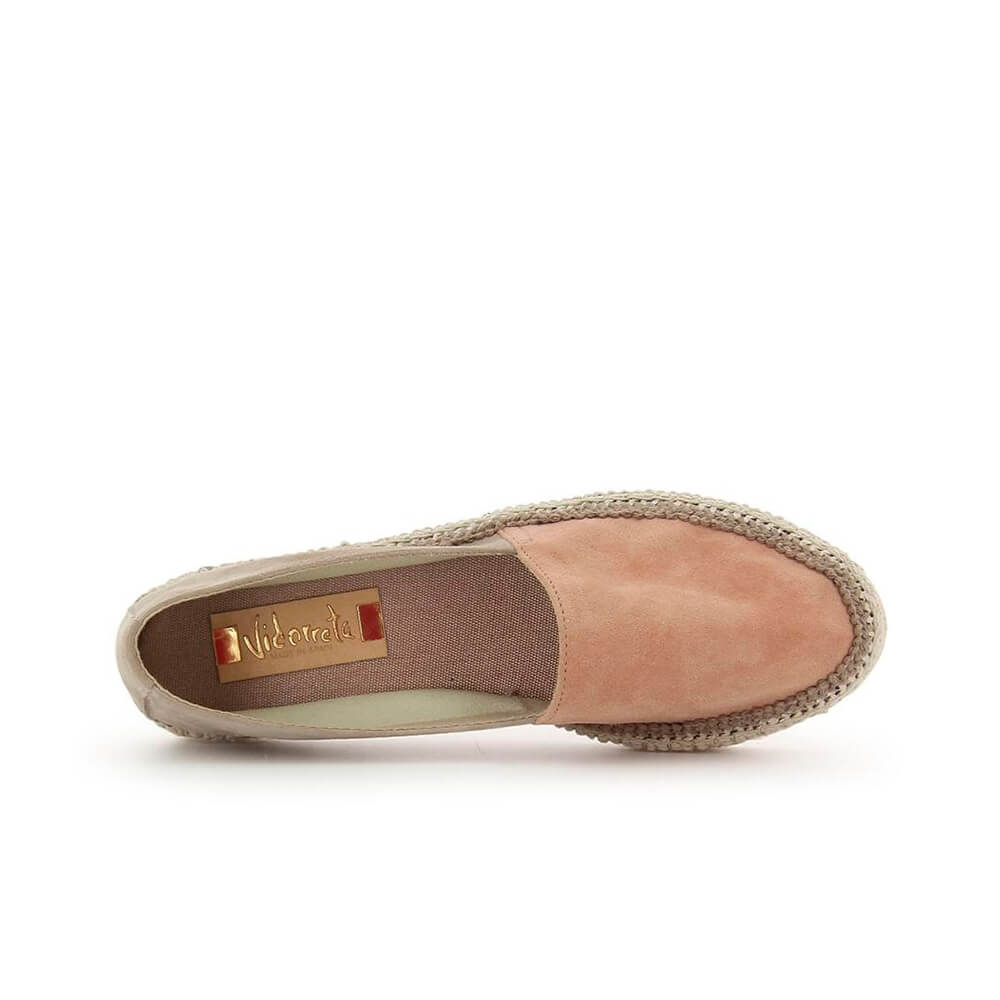 Two-coloured Pink Suede Leather Jute Espadrille - Item3