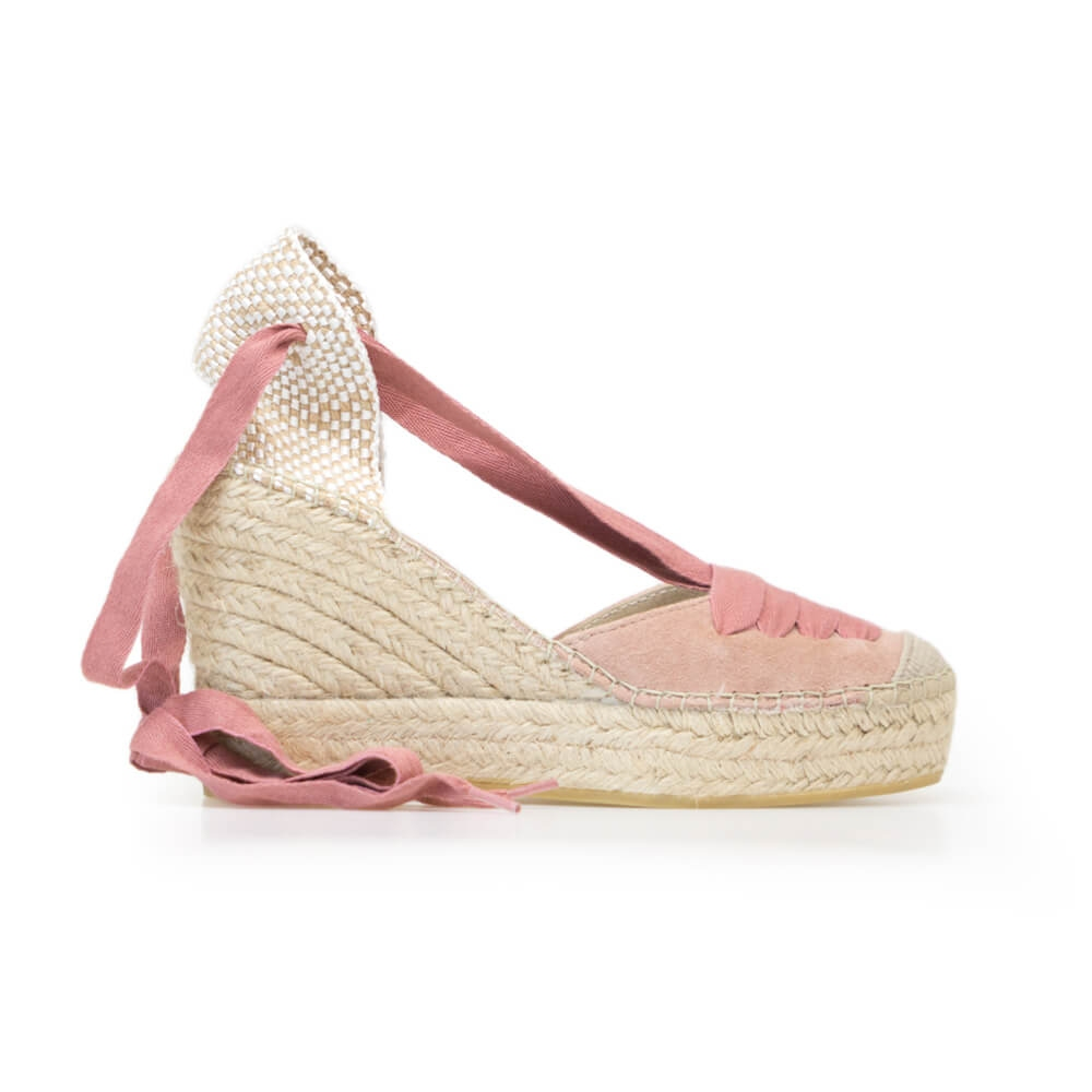 Lace Up Pink Suede Jute Wedge Espadrille