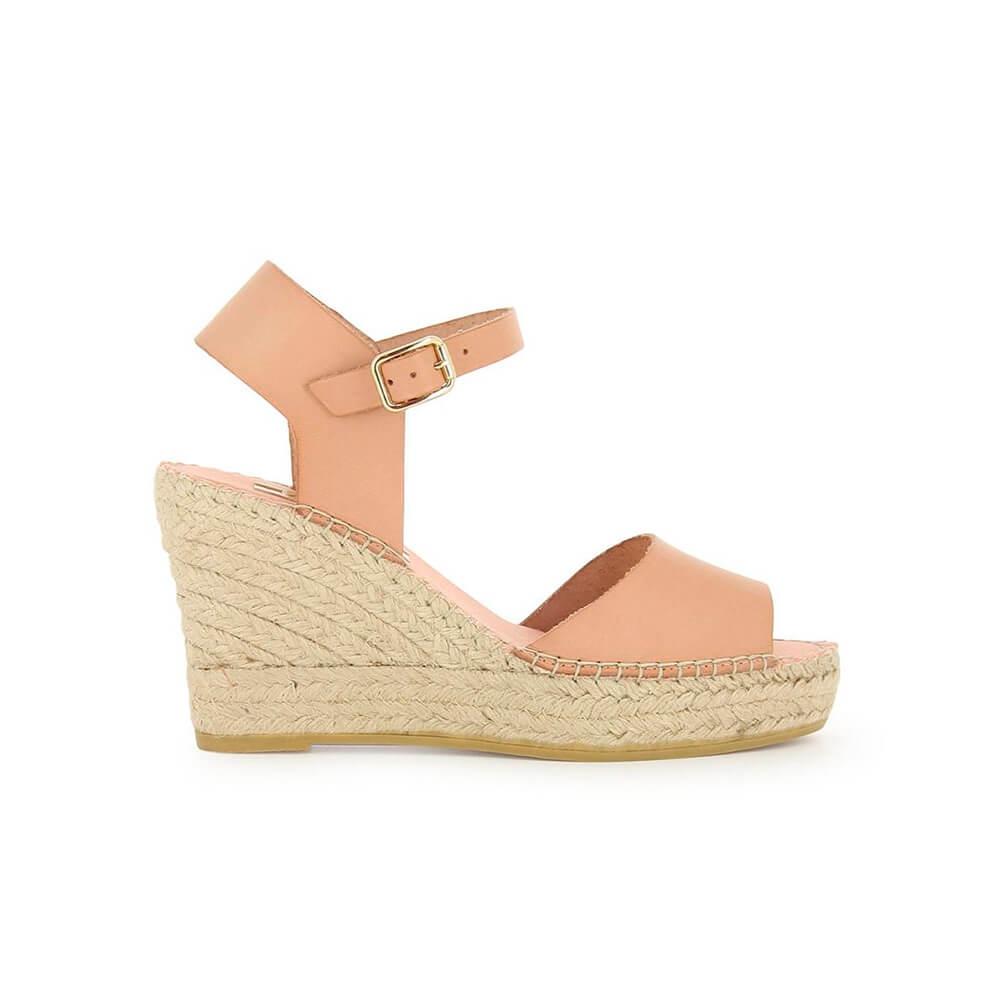 3dc5646298f Nude Leather Jute Wedge Sandal