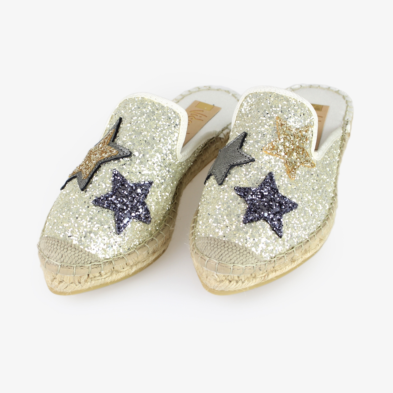 Babucha Yute Brillo Blanco Glitter Estrellas - Ítem1