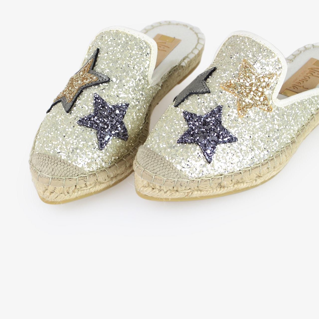 Babucha Yute Brillo Blanco Glitter Estrellas - Ítem2