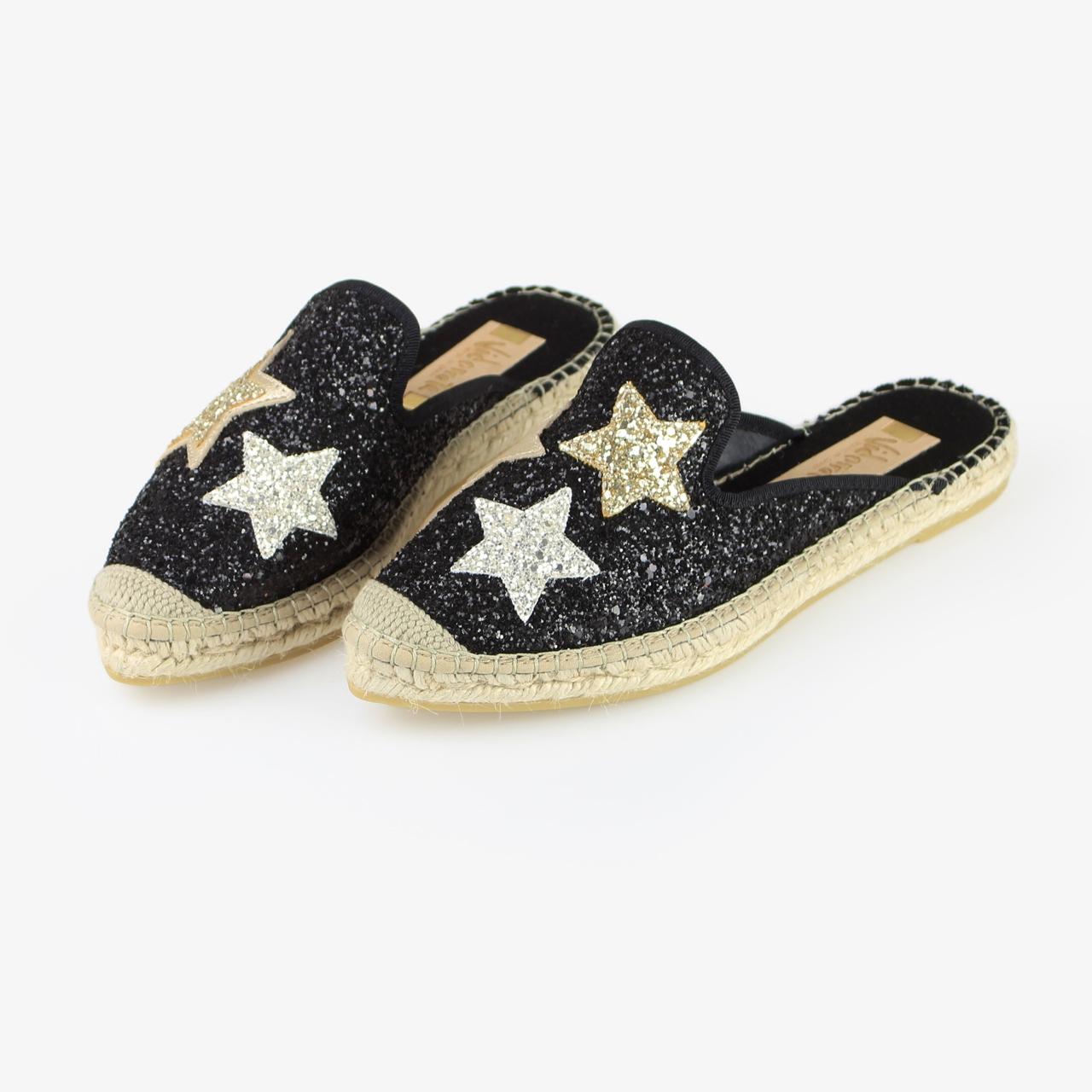 Babucha Yute Brillo Negro Glitter Estrellas - Ítem2