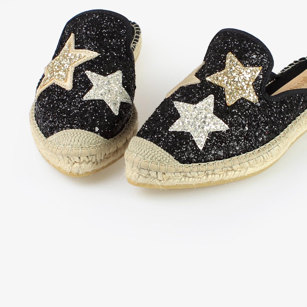 Babucha Yute Brillo Negro Glitter Estrellas - Ítem1