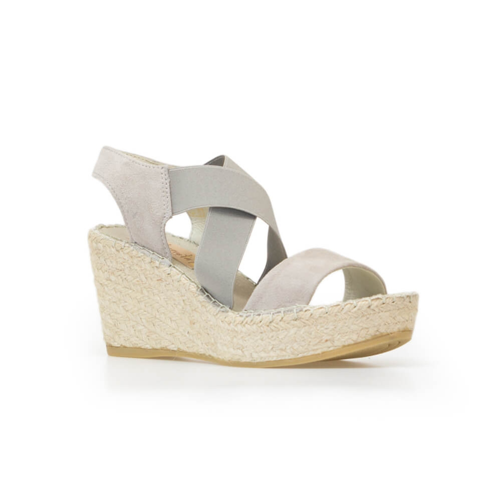 8cc2616065 Grey Suede Elasticized Jute Wedge Sandal