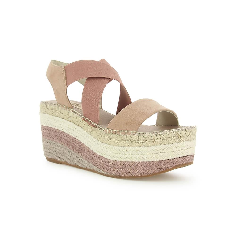 6fcfed1ec85cd Pink Suede Elasticized Jute Platform Sandal | Free Shipping | VIDORRETA