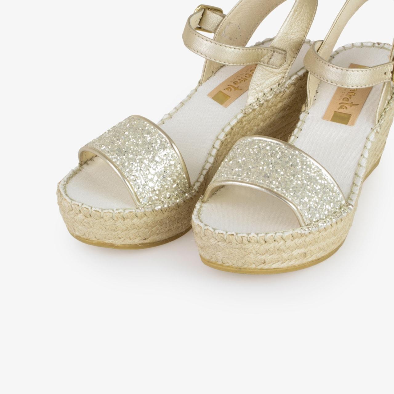 Sandalia Cuña Yute Brillo Blanco Glitter - Ítem2