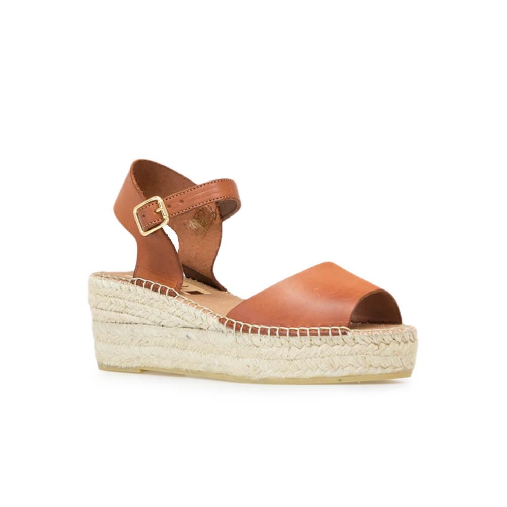 64942e8681c Beige Cowhide Leather Jute Wedge Sandal