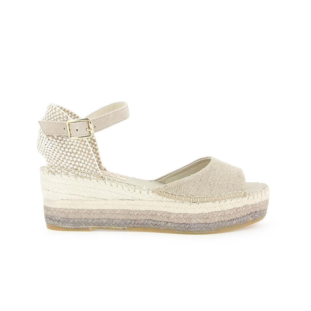 e5b570fba0e Beige Linen Multicolor Jute Wedge Sandal