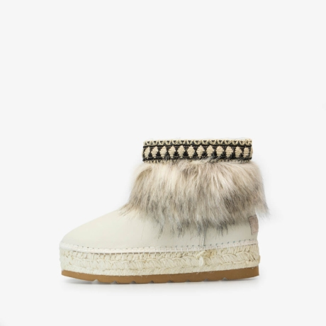 Beige Fur Decoration Winter Leather Ankle Boot 95766PRDI Crudo