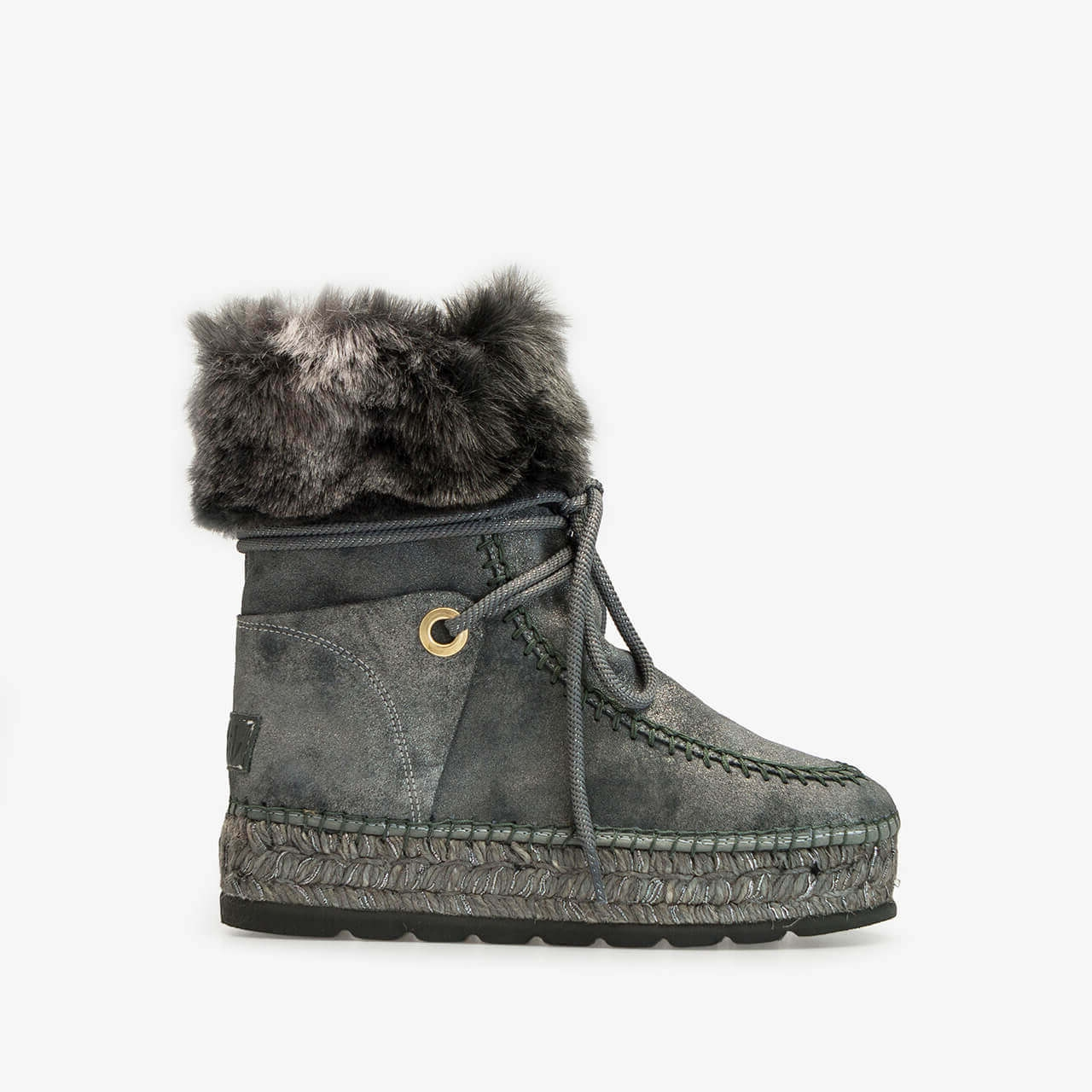 9358bb384f44 Grey Fur Leather Jute Women Laces Boot | Free Shipping | Vidorreta