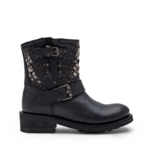TANDEM Biker Boots Black Leather Old Nickel Studs